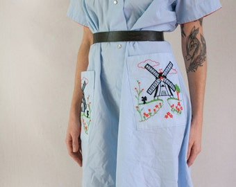 1960s Embroidered Windmill Dress
