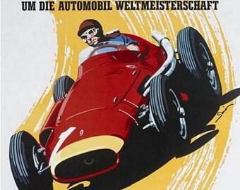 Vintage 1957 Nurburgring Motor Racing Poster A3 Print