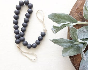 Gray Bead Garland, Gray Wood Beads, Wooden Bead Garland, Wood Bead Garland, Garland, Wood Beads, Wood Garland, Bead Garland, Rustic Garland