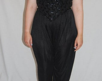 Legends 1980s Embellished Black Vintage Jumpsuit