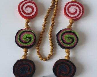 Felted beads, accessory, felt, beads, felt