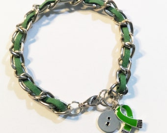 Green Depression & Mental Health Awareness Ribbon with Hand Stamped Semicolon Charm Bracelet