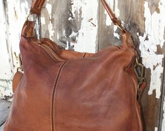 Soft Cognac Distressed Hobo Bag