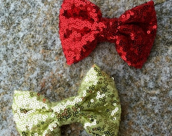 Red sequin bow, red  clip bow, gold sequin bow, gold clip bow, sequin bows, First birthday bows, Christmas clip bows, Red Christmas bow, bow