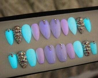 Glow In The Dark Press on Nails | False Nails | AB Swarovski Crystals | Fake Nails | Custom Shapes Sizes