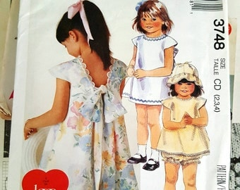 1988 Easy McCall's 3748 Adorable Toddler's Dress, Top, Panties and Hat Size 2-4 Uncut FF Sewing Pattern ReTrO Cute!