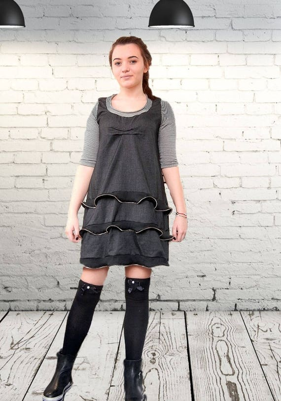 Flattering Loose Dress, Art Party Dress, Maxi Zip Frilled Dress, Oversized Casual Short Dress, Party Dress, Clubwear, Alternative Dress