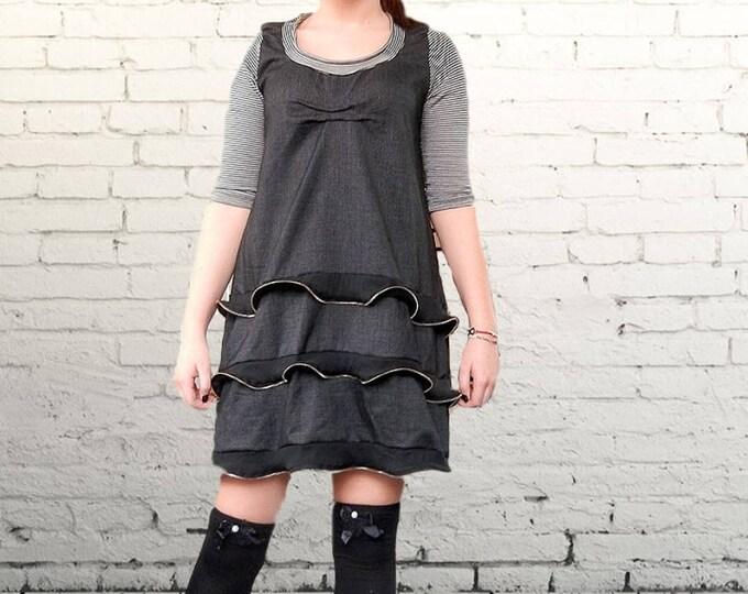 Flattering Loose Dress, Art Party Dress, Maxi Zip Frilled Dress, Oversized Casual Short Dress, Party Dress, Clubwear, Alternative Dress