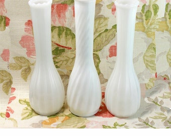 Hoosier Milk Glass Vases- Set of 3- Vintage Wedding Decor- Wedding Decor Milk Glass Vases, 3 Milk Glass Vases, Milk Glass Bud Vase