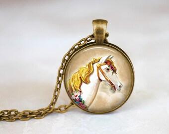 Carousel Horse Necklace Carnival Horse Pendant - Carousel Glass Necklace - Blonde Horse Pendant White Horse Jewelry Carousel Animal Necklace