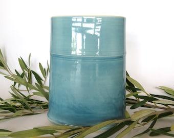 Light Blue/Green Porcelain Oval Vase