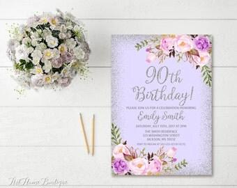 Th Birthday Invite Etsy - 90th birthday invitation images