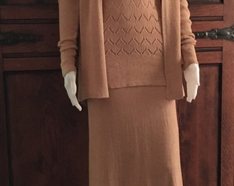 1930's Pale Apricot Three Piece Boucle Knit Ensemble with Belt