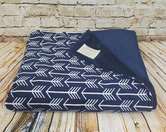 Navy Minky Arrow Oversized Throw
