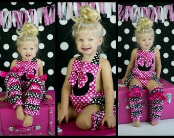 Girls Pink Mickey Mouse Romper // Baby Girls Birthday Outfit // Pink Polka Dot Romper