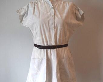 80s Vintage Mini Printed Dress / Gray-White / Shirt Dress / Short Sleeve Dress / Woman / M to L