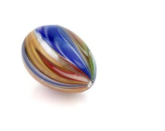 Murano Venetian Italian Hollow Calcedonio Art Glass Egg in Beautiful Multicolored Cane Stripe Rainbow Swirl for Easter circa 1950s.