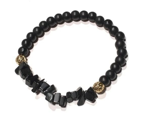 Matte black and gold | Beaded bracelet | Stacked Stones | Stretchy bracelet | Unisex | SALIM