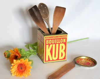 Vintage French KUB Bouillon,Metallic Tin, KUB French Brand, Red and Yellow and Graphic Lettering, Kitchenware, Kichen Storage, France, 1950s