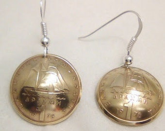 Earrings made of genuine pieces of 1 Drachma 1978 Greece.