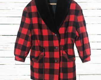 SALE - 30% | Wool plaid coat | Hunter plaid jacket | Vintage plaid jacket | Red and black plaid | Wool plaid jacket for women