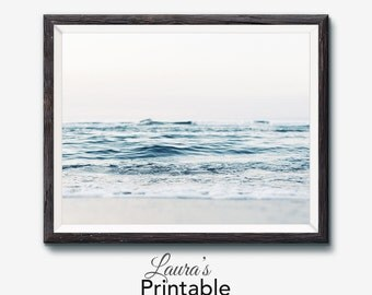 Ocean Print, Printable Photography, Ocean Art, Waves, Beach Print, Boho Art, Nature, Minimalist, Surf Photo, Modern Scandinavian, Digital