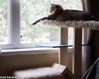 Modern Kitty Condo // Retro Cat Bed // Custom // Scratching post // Wooden // Hard Wood