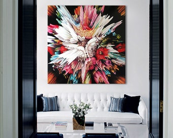 Glitch II abstract CANVAS PRINT of Bouquet of Flowers, Floral print art painting Christmas Gift Wall art living room bedroom Interior design