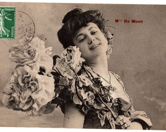 Vintage French Postcard, Mlle De Monti,Belle Epoque Actress,Roses, c1907