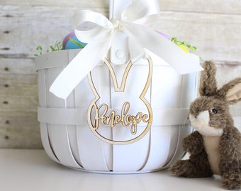 Easter gift tags 3 tags personalized easter basket tag personalized easter basket bunny rabbit tag easter basket name charm negle Choice Image