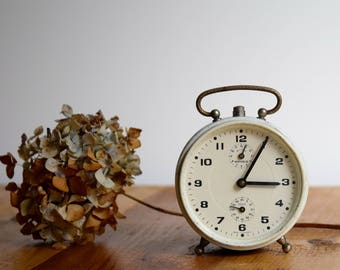 Desk clock, Home decor, Mechanical clock, Round alarm clock, German clock, Retro alarm clock, Office decor, Shelf clock, Gift for him,