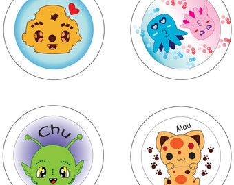 Button 37 mm Mars cookie cat Octopus needle button pin badges
