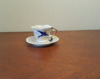 Cute Vintage Blue and Gold Demitasse  Sparrow Teacup and Saucer made in Japan, Bone China Demitasse Teacup and Saucer Set