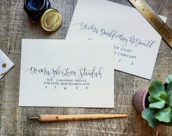 Classic Black Custom Handwritten Calligraphy Envelope Addressing