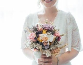 Rustic Dried Flower Bridal Bouquet with Preserved Roses in Pinks, Purples and Whites