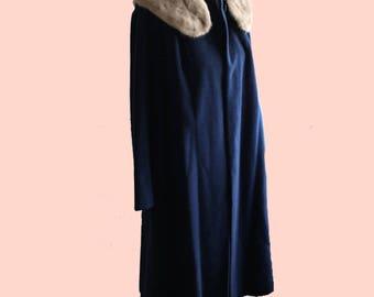 60's Shagmoor Navy Wool Coat with Real Mink Collar