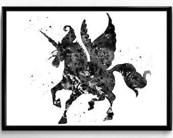 Winged Unicorn, Magical Mythological Animal, Black and White Watercolor, Poster, Fantasy Room Decor, gift, printable wall art  (574)