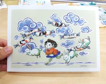 White Rabbit Candy Postcard