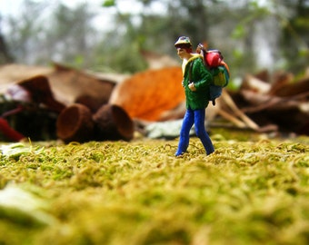 Wanderlust! Terrarium Figurine, Miniature Hiker Backpacker