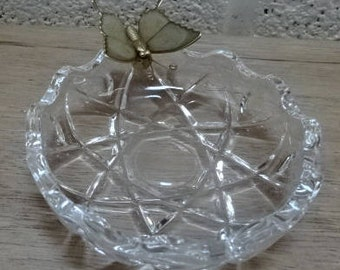 Very Cute Pressed Cut Glass Pin Dish/Trinket Dish/Metal Butterfly/Vintage/1970s