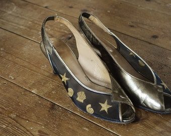 Vintage 70's Unique Glam Star and Shell Embroidered Shoes