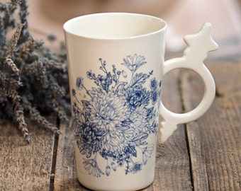 Flower Cup, Floral Mug, Hostess Gift Mug, Mug Pottery, Gift For Her, Personalized Drinkware, White Tea Cup, Porcelain Cup, Large Coffee Mug