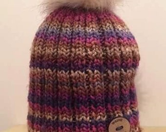 Ladies Pink/Purple Faux Fur Pom Hat