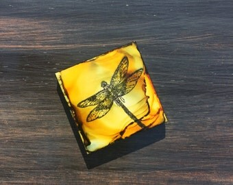 Dragonfly  Refrigerator Magnet, 2x2  Ceramic Tile, Stamped,  Hand painted with Alcohol Ink