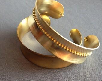 wilma - textured brass cuff bracelet