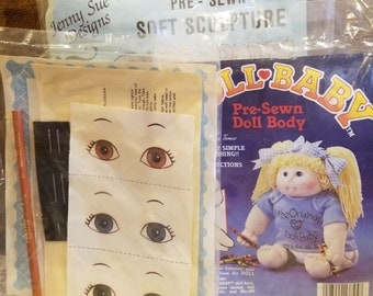 "Original Doll Baby Pre Sewn Doll Body Martha Nelson & 18"" Jenny Sue, Foster Children Doll Kit Eyes Pencil Adoption Certificate Doll Making"