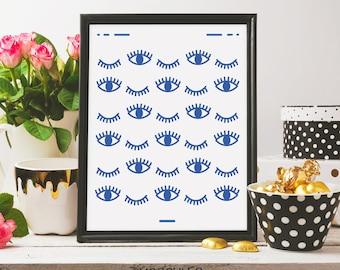 Eyes Poster, Wall Decor, Modern Print, Print Art, ink art, Eye Art, Wall Prints, Modern Artwork, Fashion Poster,Nursery Art, Abstract Print