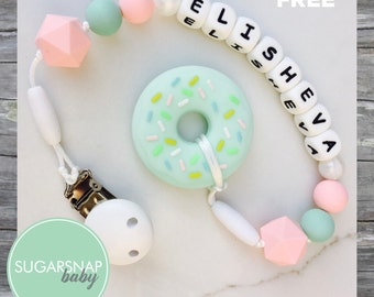 Donut Teether in Mint - Baby Girl Gift - Chew Toy - Silicone Teether - personalized name clip - name pacifier holder - Silicone Donut Teethe
