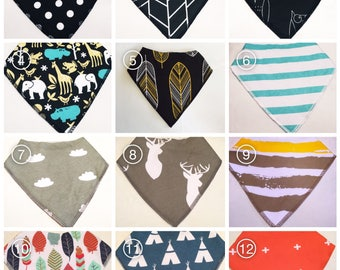 Organic Cotton Bandana Bibs - you chose design Baby and Toddler - Dribble Drool Bib unisex bandana bib - toddler bib - bibs for boy