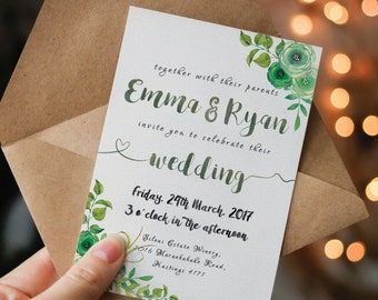 green wedding invitation printable garden wedding invitation green wedding invite greenery wedding invitation printable watercolor floral